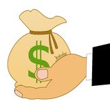 Saco com dólares de um sinal em uma mão Imagens de Stock Royalty Free