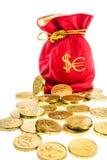 Saco com euro e dólares das moedas Fotos de Stock Royalty Free