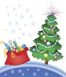 Saco com presentes e pinho ilustração royalty free