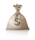 Saco completo com dólares do dinheiro Imagem de Stock