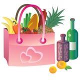 Saco cor-de-rosa com alimento Imagem de Stock Royalty Free