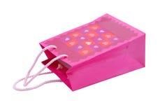Saco cor-de-rosa do presente com corações Fotos de Stock Royalty Free