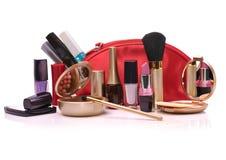 Saco cosmético vermelho Imagem de Stock
