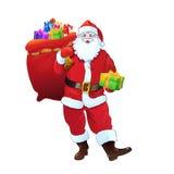 Saco da caixa de presente de Santa Claus completamente de Natal Imagens de Stock