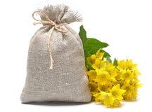 Saco da lona com flores amarelas Fotografia de Stock Royalty Free