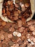 Saco da moeda de um centavo imagens de stock