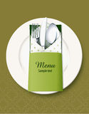 Saco da pratas da tampa do menu Foto de Stock Royalty Free