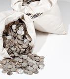 Saco das moedas de prata foto de stock
