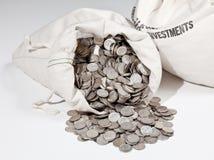 Saco das moedas de prata imagem de stock
