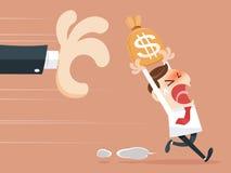 Saco de agarramento do dinheiro da mão Fotos de Stock