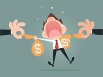 Saco de agarramento do dinheiro da mão Imagens de Stock Royalty Free