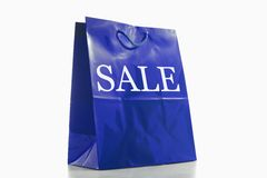 Saco de compra azul Imagem de Stock Royalty Free