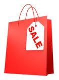 Saco de compra com VENDA da etiqueta Fotografia de Stock