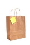 Saco de compra de papel com nota Fotografia de Stock