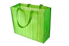 Saco de compra reusável verde vazio fotografia de stock