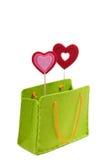 Saco de compra verde isolado no fundo branco Fotos de Stock Royalty Free
