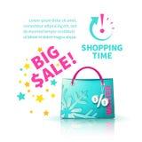 Saco de compras azul brilhante Fotos de Stock Royalty Free