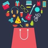 Saco de compras com compra Vetor liso do projeto Foto de Stock Royalty Free