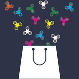 Saco de compras com giradores da inquietação Fundo liso do vetor do projeto Imagem de Stock Royalty Free