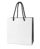 Saco de compras de papel branco e preto Foto de Stock Royalty Free