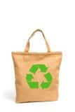 Saco de compras feito fora do pano de saco reciclado Imagens de Stock Royalty Free
