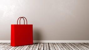 Saco de compras no assoalho de madeira Foto de Stock