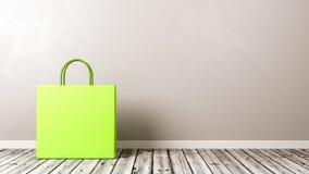 Saco de compras no assoalho de madeira Fotografia de Stock