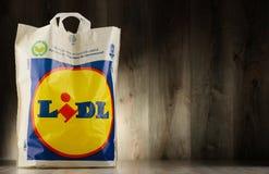Saco de compras original do plástico de Lidl Fotografia de Stock