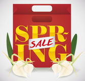 Saco de compras para vendas estação da mola, ilustração do vetor Fotos de Stock Royalty Free