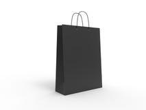 Saco de compras preto clássico, isolado ilustração 3D Fotografia de Stock Royalty Free