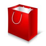 Saco de compras vermelho vazio no fundo branco ilustração do vetor