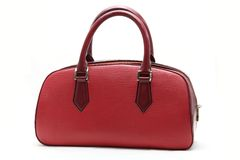Saco de couro falsificado vermelho da mulher Fotografia de Stock Royalty Free