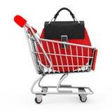 Saco de couro vermelho luxuoso das mulheres no carrinho de compras rendição 3d Fotos de Stock Royalty Free