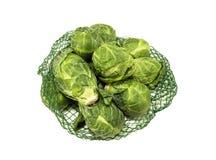 Saco de couves-de-Bruxelas frescas Imagens de Stock