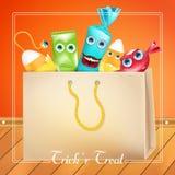 Saco de Dia das Bruxas da doçura ou travessura com monstro dos doces vector a ilustração para o cartão, anúncio, promoção, cartaz Imagem de Stock