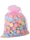 Saco de doces dados forma coração (imagem 8.2mp) imagens de stock