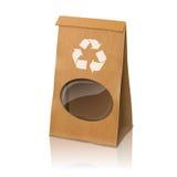 Saco de empacotamento de papel realístico do vetor vazio do ofício Imagem de Stock