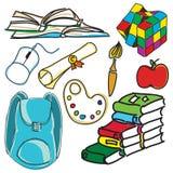 Saco de escola colorido tirado Imagem de Stock Royalty Free