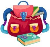 Saco de escola com livro ilustração royalty free