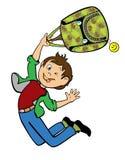 Saco de escola de salto da terra arrendada do menino Fotos de Stock Royalty Free