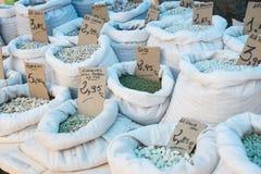 Saco de feijões no mercado Imagem de Stock