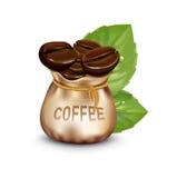 Saco de granos de café y de hojas frescas aislados ilustración del vector