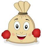 Saco de la arpillera de dinero con los guantes de boxeo Imagenes de archivo