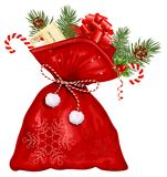 Saco de la Navidad con los presentes Fotos de archivo