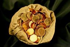 Saco de las monedas Foto de archivo libre de regalías