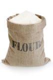 Saco de lino con la harina Foto de archivo libre de regalías