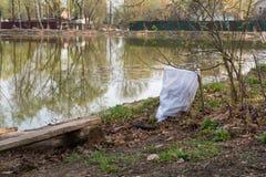 Saco de lixo no lago no parque O conceito da prote??o ambiental foto de stock