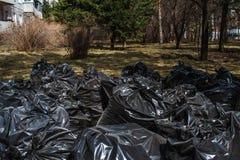 Saco de lixo plástico preto Fotos de Stock Royalty Free