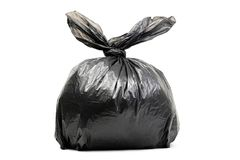 Saco de lixo preto isolado em um branco Fotografia de Stock Royalty Free