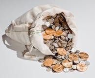 Saco de moedas da prata e de ouro fotos de stock